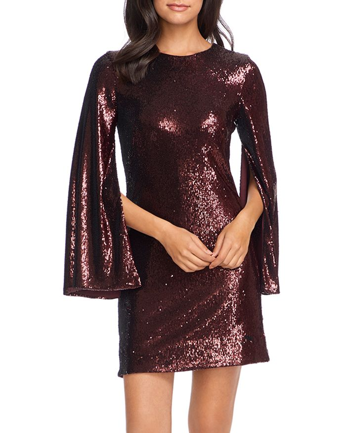 Dress the Population - Liza Cape-Sleeve Sequin Dress