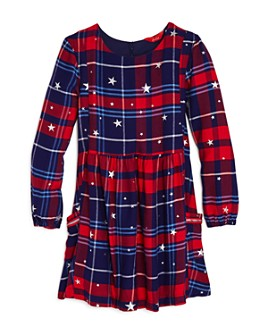 Joules - Girls' Rowena Star Print Plaid Dress - Little Kid, Big Kid