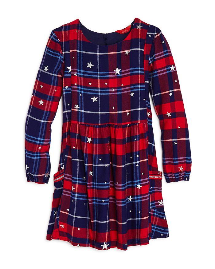 Joules - Girls' Rowena Star Print Plaid Dress - Little Kid, Big Kid