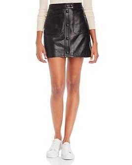 FRAME - Patch Pocket Leather Skirt