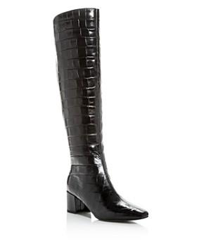 Sigerson Morrison - Women's Paislee Croc-Embossed Square-Toe Boots