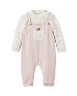 Elegant Baby - Girls' Ribbed Top & Kitty Overalls Set - Baby