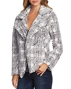 Vince Camuto Plaid Teddy Open Jacket