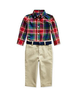 Ralph Lauren - Boys' Plaid Shirt & Belted Chino Pants Set - Baby