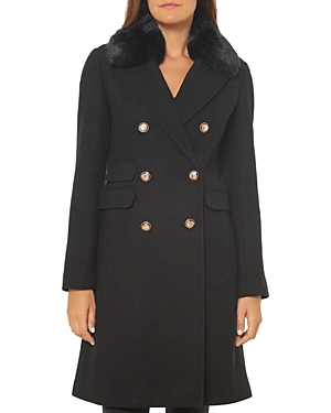 Vince Camuto Faux Fur Trim Double-Breasted Coat-Women