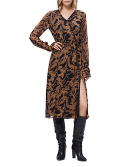 PAIGE - Silk Printed Faux-Wrap Dress