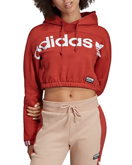 adidas Originals - Cropped Logo Hooded Sweatshirt