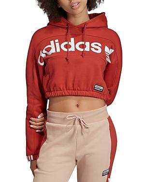 Adidas Originals T-shirts ADIDAS ORIGINALS CROPPED LOGO HOODED SWEATSHIRT