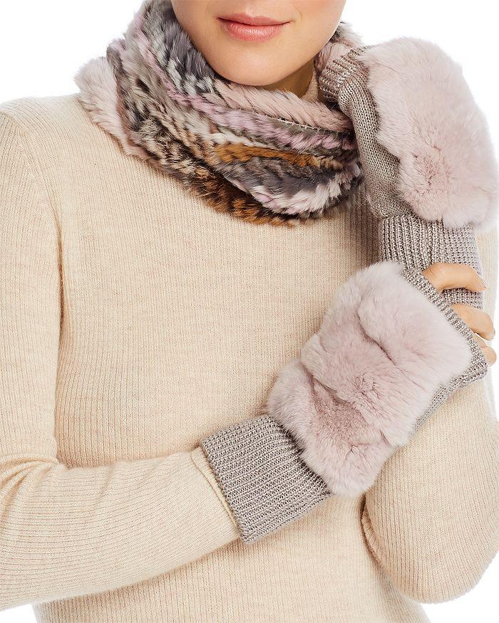 Jocelyn - Knit Rabbit Fur Cowl & Rabbit-Fur Trim Fingerless Mittens