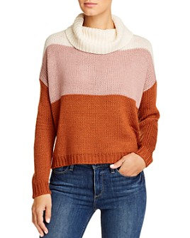 BeachLunchLounge - Dara Color-Block Cowl-Neck Sweater