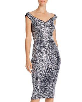AQUA - Sequin Leopard-Print Sheath Dress - 100% Exclusive