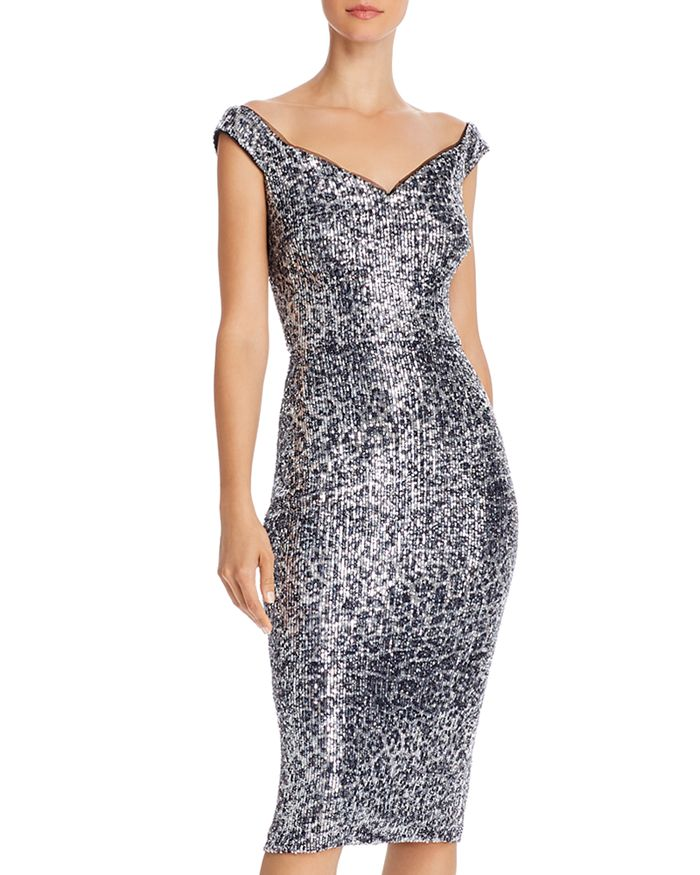 AQUA - Sequin Leopard-Print Sheath Dress - 100% Exclusive