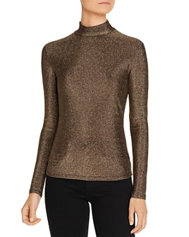 FORE - Metallic Mock-Neck Top