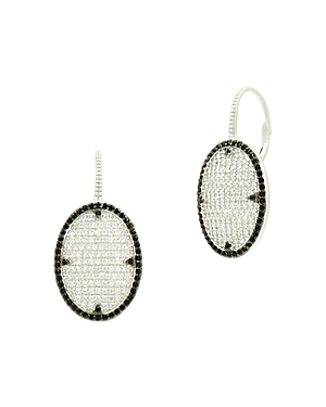 Freida Rothman Industrial Finish Pave Earrings in Rhodium-Plated Sterling Silver