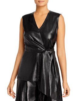 Lafayette 148 New York - Olivia Leather Wrap-Front Blouse