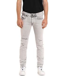 Diesel - Sleenker 0090F Skinny Fit Jeans in Light Gray