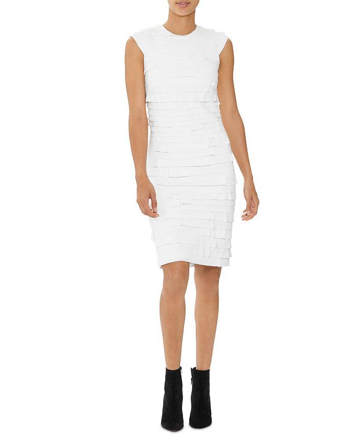 HALSTON - Tiered Ponte Sheath Dress