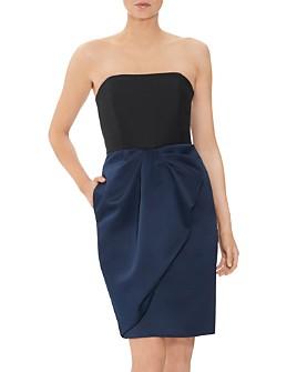 HALSTON - Color-Block Cocktail Dress