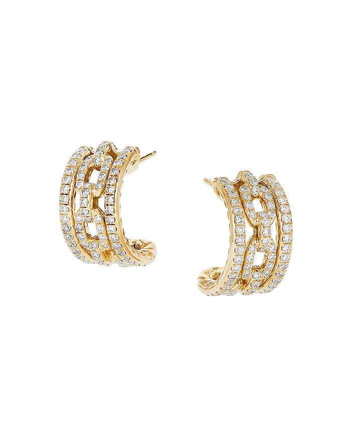 David Yurman - 18K Yellow Gold Stax Huggie Hoop Earrings with Diamonds