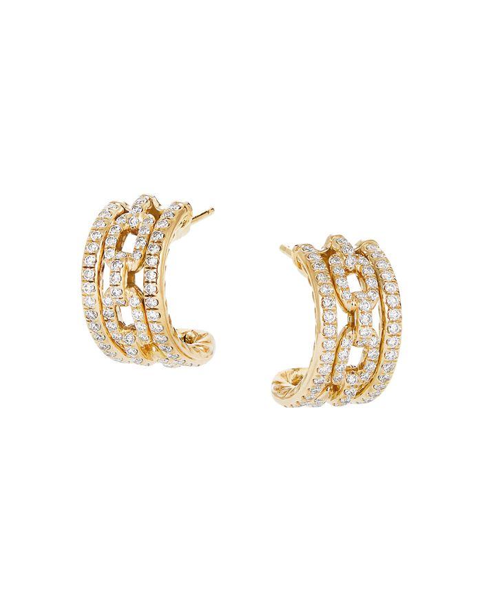 David Yurman 18K Yellow Gold Stax Huggie Hoop Earrings with Diamonds  | Bloomingdale's