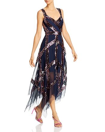 BCBGMAXAZRIA - Sequin Rainbow Stripe Gown