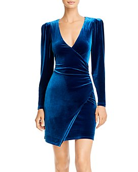 BCBGMAXAZRIA - Velvet Faux Wrap Cocktail Dress - 100% Exclusive