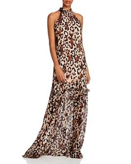 Rachel Zoe - Tosca Leopard Print High Neck Gown