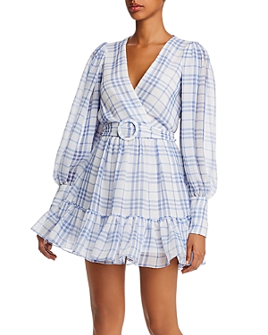 Bec & Bridge Alexa Plaid Puff Sleeve Mini Dress