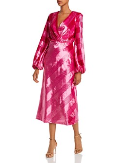 Rebecca Vallance - Mona Metallic Striped Velvet Midi Dress