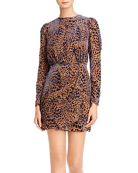 The Kooples - Artichoke Burnout Velvet Leopard Mini Dress