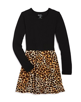 Flowers by Zoe - Girls' Color-Block Leopard Dress - Big Kid