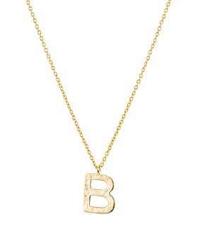 """Argento Vivo - Hammered Initial Pendant Necklace in 18K Gold-Plated Sterling Silver, 18""""-20"""""""
