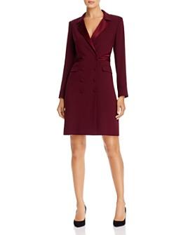 PAULE KA - Double-Breasted Satin-Detail Tuxedo Dress