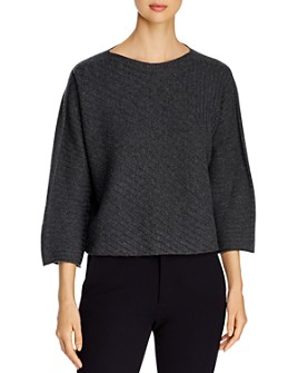 Eileen Fisher Petites - Ribbed Cashmere Boatneck Sweater - 100% Exclusive