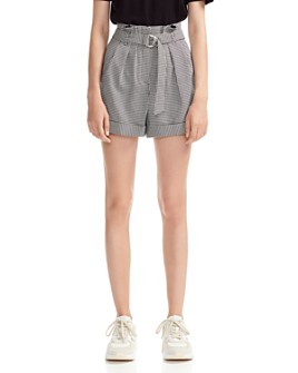 Maje - Imy Belted Houndstooth Shorts