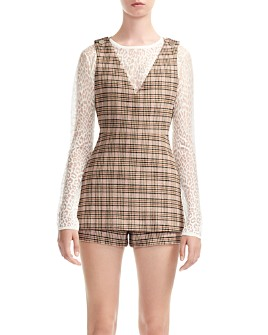 Maje - Irilo Plaid Skirt-Overlay Romper