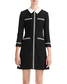 Maje - Renali Contrast-Collar Tweed Mini Dress