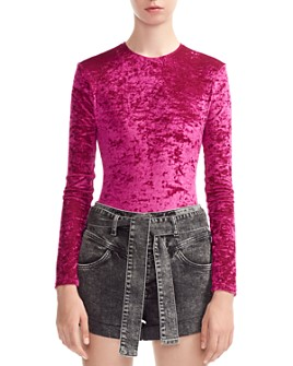 Maje - Tipy Crushed Velvet Bodysuit