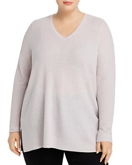 Eileen Fisher Plus - Wool V-Neck Tunic Sweater