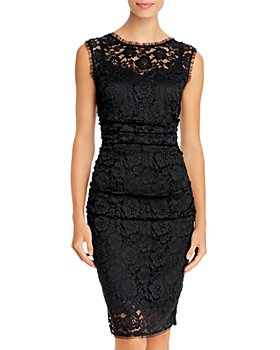 PAULE KA - Ruched Lace Sheath Dress