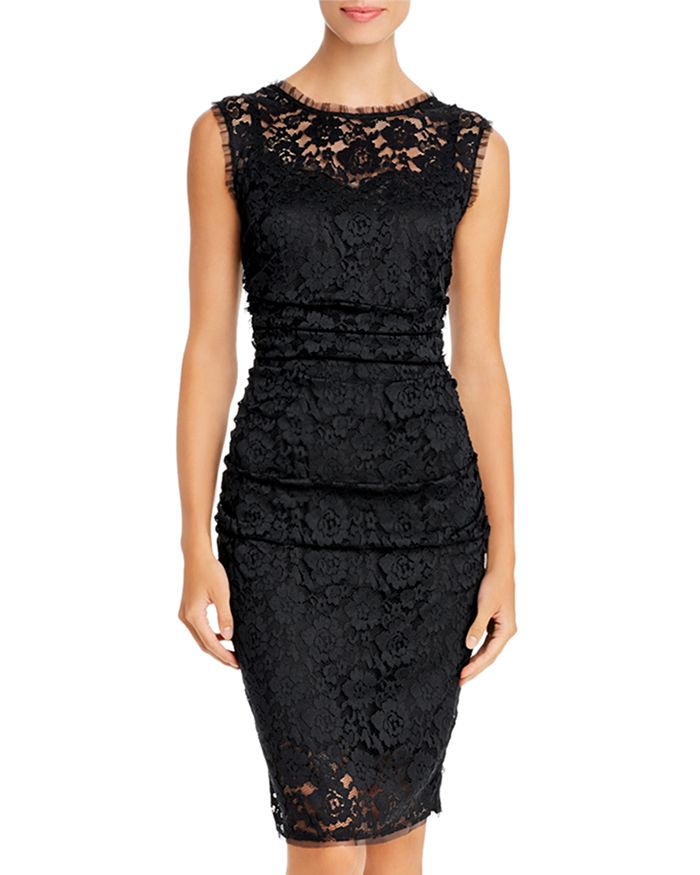 PAULE KA - Ruched Lace Sheath Dress