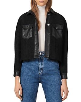 Sandro - Enoy Leather-Trimmed Tweed Jacket