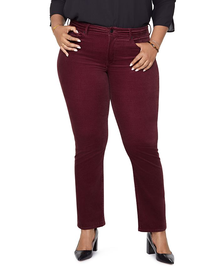NYDJ Plus - Marilyn Velvet Straight-Leg Jeans in Grenache