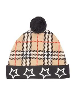 Burberry - Unisex Check And Stars Pom-Pom Hat
