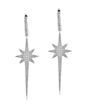 Bloomingdale's - Pave Diamond Starburst Drop Earrings in 14K White Gold, 0.55 ct. t.w. - 100% Exclusive