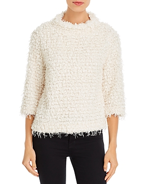 Vince Camuto Textured Fringe Sweater