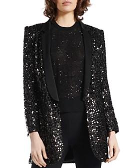 PAULE KA - Paillette-Embellished Shawl-Collar Tuxedo Jacket