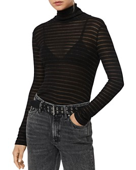 ALLSAINTS - Esme Shimmer Striped Turtleneck Top