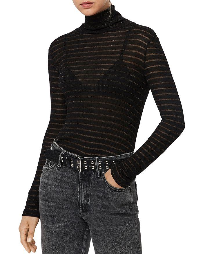 ALLSAINTS - Esme Shimmer Striped Turtleneck Top