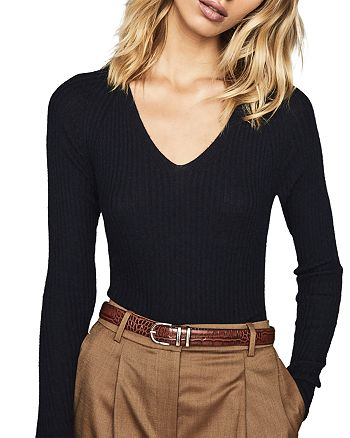 REISS - Elouise Ribbed Knit V-Neck Sweater
